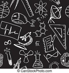 ciencia, dibujos, en, seamless, patrón