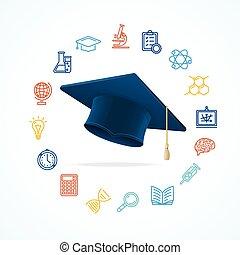 ciencia, educación, concepto, y, iconos, set., vector