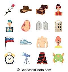 ciencia, educación, medicina, y, otro, tela, icono, en, caricatura, style.health, recreación, tradición, iconos, en, conjunto, collection.