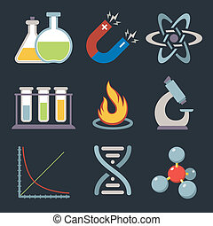 ciencia, física, iconos