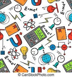 ciencia, física, seamless, pauta fondo