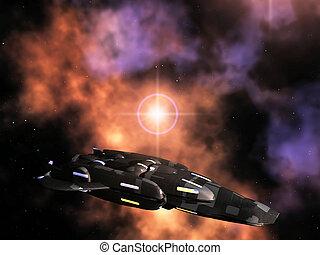 ciencia ficción, avión, en, colorido, cielo nublado