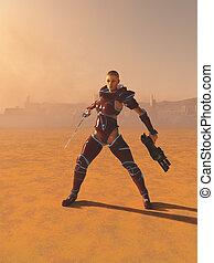 ciencia ficción, guerrero, sacerdotisa, en, el, desierto