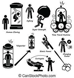 ciencia ficción, iconos, cliparts