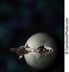 ciencia ficción, nave armada, en órbita