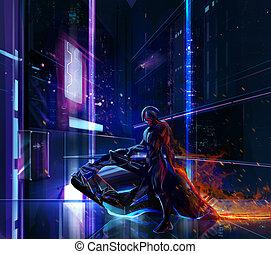 ciencia ficción, neón, guerrero, en, bicicleta