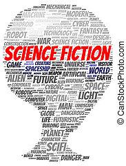 ciencia ficción, palabra, nube, forma