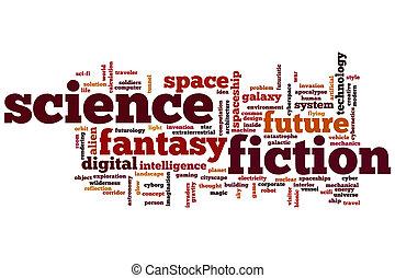 ciencia ficción, palabra, nube