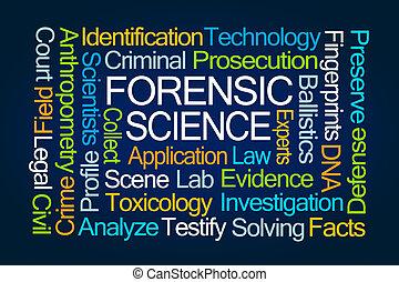 ciencia, forense, palabra, nube