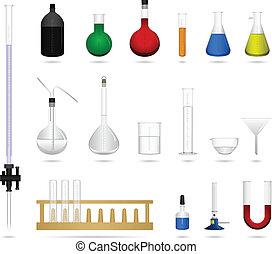 ciencia, herramienta, equipo del laboratorio
