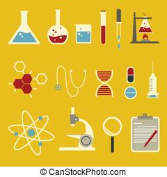 ciencia, icono, conjunto