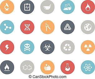 ciencia, iconos, //, clásico, serie