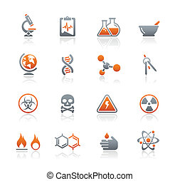 ciencia, iconos, /, grafito, serie