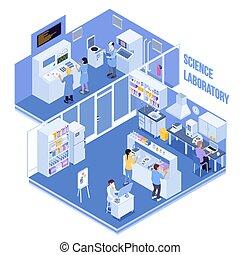 ciencia, laboratorio, isométrico, ilustración