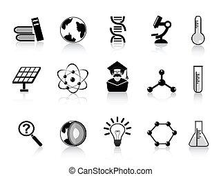 ciencia, negro, iconos
