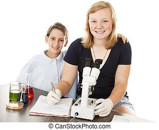 ciencia, niños, en la clase