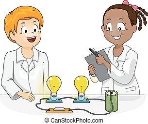 ciencia, niños, física, experimento, ilustración