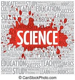 ciencia, palabra, nube, educación, concepto