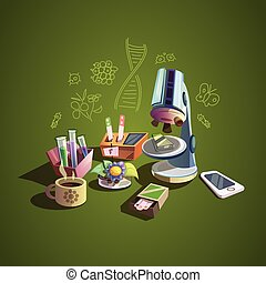 ciencia, retro, caricatura, conjunto