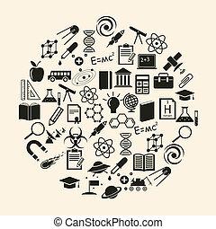 ciencia, vector, icono