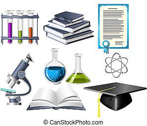 ciencia, y, educación, iconos