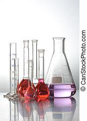 ciencia, y, prueba médica, tubos