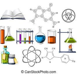 ciencia, y, química, iconos