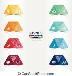 cienie, diagram, pojęcie, trójkąt, processes., handlowy, strony, prezentacja, opcje, etykiety, wykres, albo, chart., realistyczny, papier, wektor, szablon, kroki, 8, majchry, infographic.