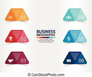 cienie, diagram, pojęcie, trójkąt, processes., handlowy, strony, prezentacja, opcje, etykiety, wykres, albo, chart., realistyczny, papier, wektor, szablon, 6, kroki, majchry, infographic.