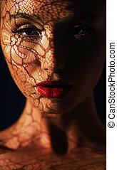 cienie, kobieta, odbicie, jej, odbicie., openwork, twarz, koronka