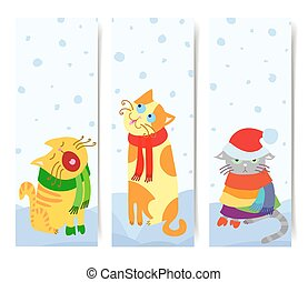 cienie, komplet, pionowy, korzystać, koty, boże narodzenie, 3, wektor, gotowy, chorągwie, przeźroczysty