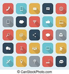 cienie, płaski, komplet, eps10, ikony, ruchome zakomunikowanie, sieć, ilustracja, zastosowania, wektor, projektować, długi, modny, itd.