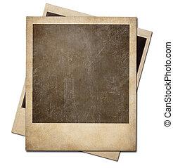cienie, strzyżenie, chwila, isolated., fotografia, polaroid,...