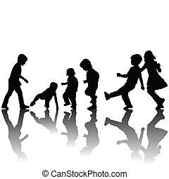 cienie, sylwetka, czarnoskóry, dzieci