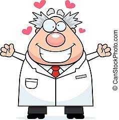 científico, abrazo, caricatura, enojado