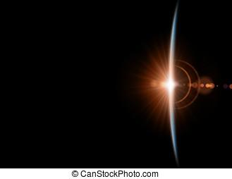 científico, abstratos, planet., -, glowing, fundo