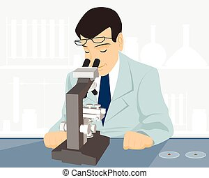 científico, con, microscopio