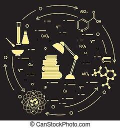 científico, educación, elements.