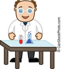 científico, experimento, con, químicos