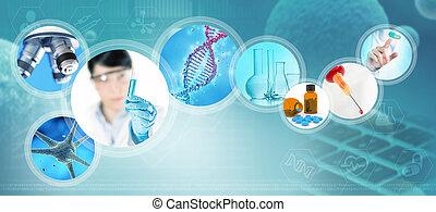 científico, fundo, azul, farmacêutico, ilustração, abstratos, imagens, 3d