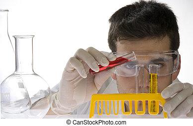 científico, joung, trabajando