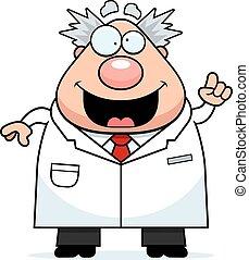 científico loco, idea, caricatura