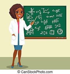 científico, mujer, cohete
