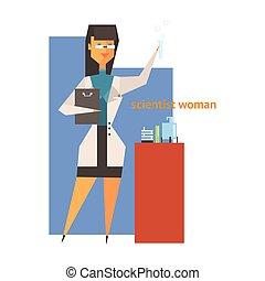 científico, mujer, resumen, figura