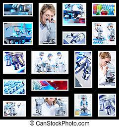 científico, plano de fondo, collage.