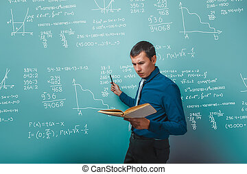 científico, profesor, profesor, un, hombre, sujetar un libro, señalar
