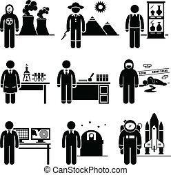 científico, profesor, trabajos, ocupación