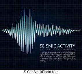 científico, resumen, gráfico, onda, sísmico, vector, frecuencia, plano de fondo, activity., terremoto