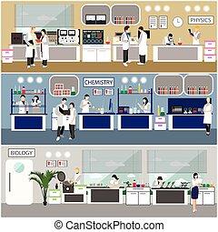 científico, trabajando, en, laboratorio, vector, illustration., laboratorio de la ciencia, interior., biología, física, y, química, educación, concept.