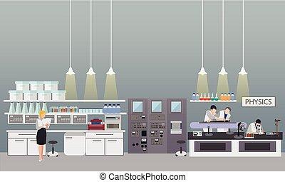 científico, trabajando, en, laboratorio, vector, illustration., laboratorio de la ciencia, interior., física, educación, concept.